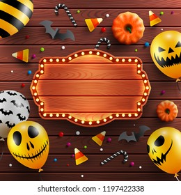 Wood background for Halloween Banner with vintage wooden board,Halloween decoration and Halloween Ghost Balloons.Scary air balloons.Website spooky or banner template.Vector illustration EPS10