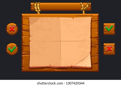 Wood banner. Game UI kit. Template wooden menu of graphical user interface GUI and buttons to build 2D games. Buttons close and confirm. Isolated on a separate layers