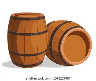 Wood barrel cartoon