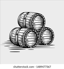 Wood barrel Hand drawn engraving style illustrations