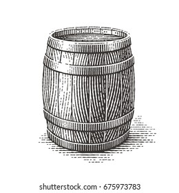 Wood barrel. Hand drawn engraving style illustrations.