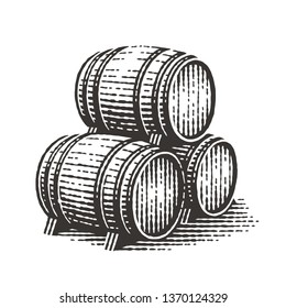 Wood barrels. Hand drawn engraving style illustrations.