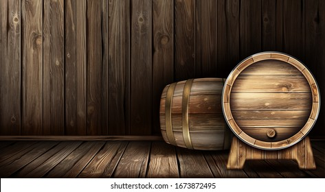 Wood barrels for wine or beer. Cask from oak wood on stand in cellar of brewery or winery. Vector realistic interior of wooden room with keg for whiskey, rum or cognac