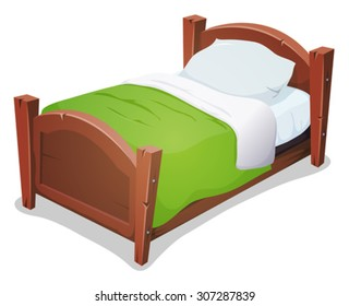 Wood Bed With Green Blanket/ Illustration of a cartoon wooden children bed for boys and girls with pillows and green blanket