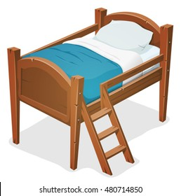 Wood Bed With Ladder/ Illustration of a cartoon wooden children bed for boys and girls with pillows, blue blanket and ladder