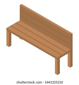 Wood bench icon. Isometric of wood bench vector icon for web design isolated on white background