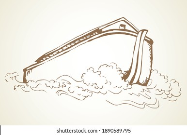 Wood big high natural cargo line arc isolated on Ararat earth white sky backdrop. Outline black hand drawn cute Lord save logotype emblem picture sketch. Art archaic doodle line style paper text space
