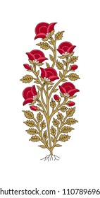 Wood block print floral element. Traditional oriental ethnic motifs of India Kashmir, bunch of red poppies isolated on white background. For your design.