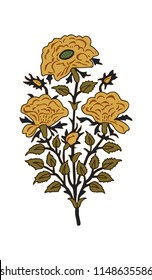 Wood block print vector floral element. Traditional oriental ethnic motif of India, bunch of yellow roses isolated on white background. For your design.