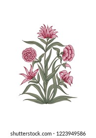 Wood block print vector floral element. Traditional oriental ethnic motif of India Mogul, bunch of pink carnations isolated on white background. For your design.