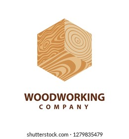 Wood board icon. Isometric wood plank design element. Woodworking company logo. Hand drawn carpentry emblem.