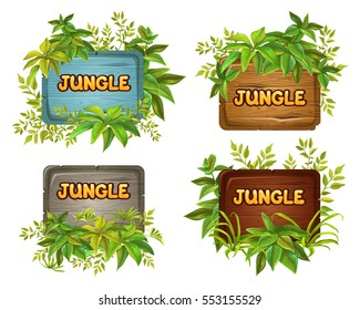 Wood board and leaves with space for text. elements for mobile games.