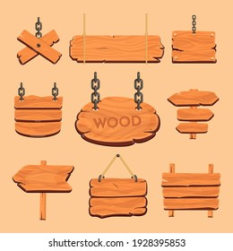 Wood board vector. Illustration of Wooden banners, Signposts, Signboards and wood plank. Different textured billboard banners for messages.