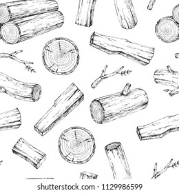 Wood, burning materials. Vector sketch illustration collection. Materials for wood industry. Stump, branch, timber. Tree lumber. Seamless background, wallpaper, pattern. Template for print, web design