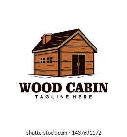 Wood cabin / house vintage logo. Cabin rental
