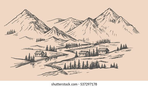 wood cabins in mountain landscape vector illustration