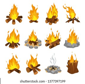 Wood campfire set, travel and adventure symbol. Fire bright design. Vector flat style cartoon bonfire illustration isolated on white background