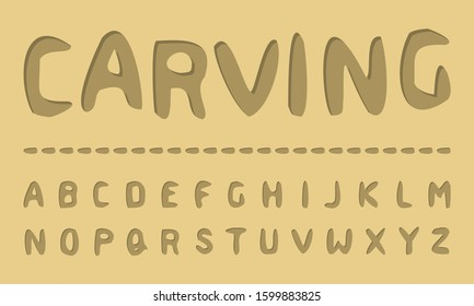 Wood Carving Handcrafted Typeface (Vector Font). Organic (Woodcut, Xylograph) Typography.