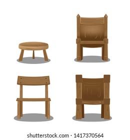 Wood Chair Cartoon Collection Set Vector