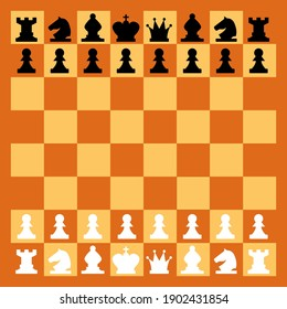 Wood checkered chess board with chess pieces. Chessman in flat style. Game figures vector illustration. Strategy game, intelligent hobby activity, competition or tournament
