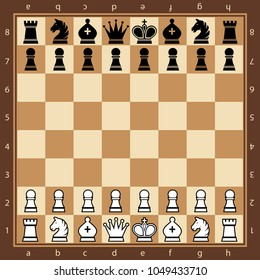 Wood chess board with chess pieces. Flat style. Top view. Vector illustration.