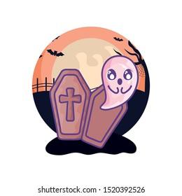 wood coffin with christian cross on halloween scene