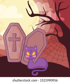 wood coffin with christian cross on halloween scene vector illustration design