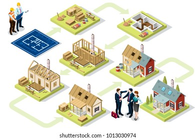 Wood construction buildings and wall structures. Industrial materials at construction stage. 3D vector Illustration.