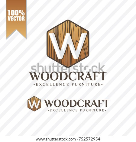 Wood Craft Logo Vector Stock Vector Royalty Free 752572954