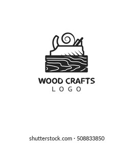 Wood crafts. Woodworking badge logo. Vector logotype template for carpenter.