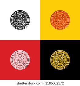 Wood cross section. Vector. Icons of german flag on corresponding colors as background.