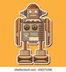 Wood Cute Robot Machine Toys Vector Design