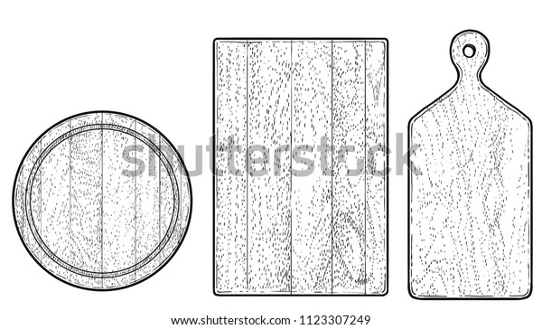 wood cutting board illustration, drawing, engraving, ink, line art, vector