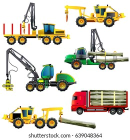 Wood cutting industry equipment. Vector illustrations set. Icons, isolated on white.