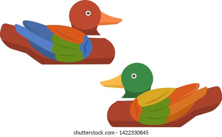 Wood drake duck nature hunting bird. Birds animal ornithology beak. Waterfowl mallard wild beautiful vertebrate waterbird ducks vector colored Korean character