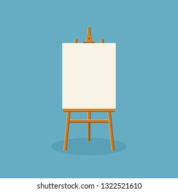 Wood easel or painting art board with white canvas on blue background. Easel with paper sheets. Artwork blank poster mockup. Vector illustration
