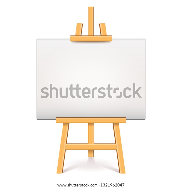 Wood easel with white canvas isolated photo-realistic vector illustration