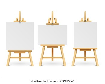 Wood easels or painting art boards with white canvas of different sizes. Artwork blank poster mockups. Wooden board with paper white canvas illustration