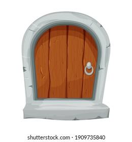 Wood fairy mediaeval door in cartoon style isolated on white background. Fantasy entrance, locked with stone bricks, border. Single object ui games design, decoration.