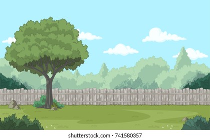 Wood fence on the backyard. Green garden with grass, trees, flowers and clouds.