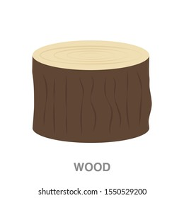 Wood flat icon on white transparent background. You can be used wood icon for several purposes.