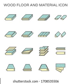 Wood floor and material vector icon set design on white background.