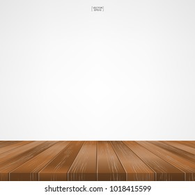Wood floor pattern and texture for background. Perspective view of wooden floor on white background with area for copy space. Wooden terrace or deck pattern and texture. Vector illustration.