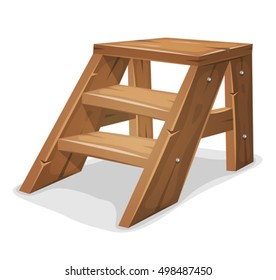 Wood Footboard/ Illustration of a cartoon footboard with wooden stairs and shelves, isolated on white background