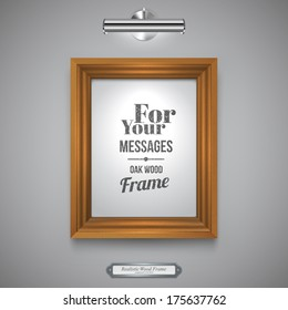 Wood Frame for Picture, Rectangle Wood Border and Lamp on a Wall, Vector Illustration