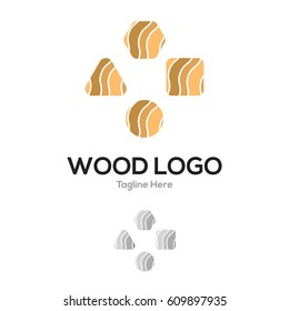 Wood geometrical layer lowercase flat logo design template