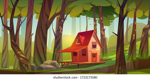 Wood house in forest or garden. Forester shack. Vector cartoon summer landscape of wooden village, cottage or farmhouse with porch, green lawn, big trees and sun light
