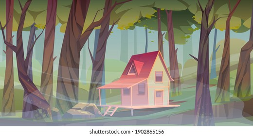 Wood house in forest with morning fog. Forester shack. Vector cartoon summer landscape of wooden village, cottage or farmhouse with porch, green lawn, big trees and mist