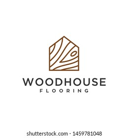 wood house home grain timber lumber vector icon logo design