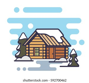 Wood house icon with trees and snow